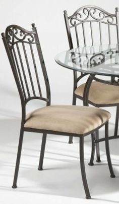 0710 Side Chair (Set of 4) by Chintaly. $582.98. Features: Antique taupe finish. Curled back rod. Wrought iron.