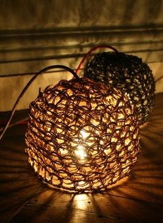 Woven paper lamp Veilleuse by Best Before  Beautiful round lamp that can be put either on a table or on the floor called Veilleuse by Best Before. #thecollection