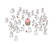 Thinking about ordering this print for the kitchen. 8 x 10 Print by CakeSpy: Cupcake Surrounded by Bunnies