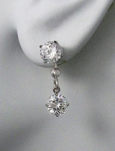 Earring Jackets For Studs 14k White Gold Dangling Jacket Post Diamond
