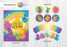 $18.00 - Visit our website for purchase. Digital file includes a welcome board, cupcake toppers & wrappers, straw flag, banners, etc. Birthday Party Decorations, Birthday Parties, Birthday Ideas, Bunny Birthday, 8th Birthday, Birthday Cake, Bunny Party, Dream Party, High Chair Banner