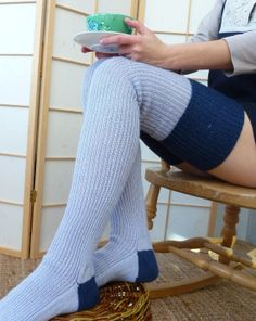 Thigh high - KNITTED MERINO WOOL socks - Better than leg warmers - extra long - Dove grey/bue with french navy
