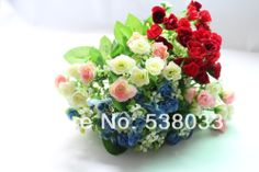 3 Bouquet  25 buds Artificial Small Bud Rose Pink Blue Red  Silk Flower Gift  wedding home decorative colorful flowers $14.99