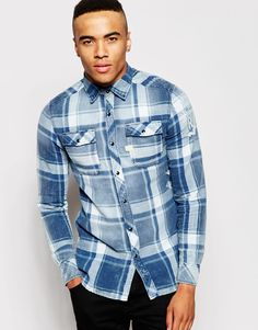 513a9969e830 G-Star Shirt Landoh Indigo Turn Flannel Large Check Rinsed Asos Uk, Denim  Button