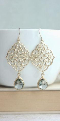 Gypsy Art Deco Filigree, Ornate, Chandelier Grey Black Diamond Earrings. Boho Gray Summer. Wedding. https://www.etsy.com/listing/129836921/gypsy-art-deco-filigree-ornate?ref=shop_home_active_9&ga_search_query=grey%2Bearrings