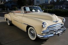 1951 Chevy Cream Color Convertible with Tan Interior.