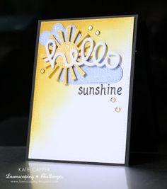 Lawn Fawn Hello die; hello sunshine; SSS sunshine die (idea); DO blending; cloud die; sun die