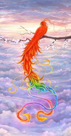 The Color Phoenix Canvas Art Print #bird #fire #colorful