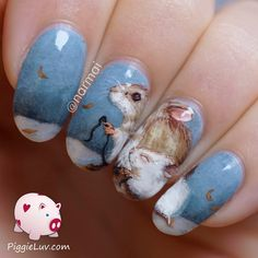 You guys know I like to recreate paintings and other art on my nails, right? It's a great way to learn about brush strokes, shading etc. So I recreated this painting by Janet Chui called 'First Snow'. Fitting for this time of year, dontcha think?