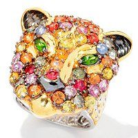 Gems en Vogue II Sapphire & Chrome Diopside Panther Ring