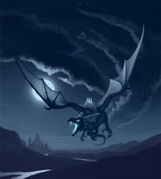 Dragon Flying at night