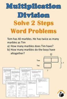 Solve 2 steps word problems for Whole Numbers using bar models/tape diagrams based on equal group, comparison with difference/sum situation. A step by step approach for students to learn progressively. 3rd Grade Math Worksheets, 4th Grade Math, Third Grade, Bar Model, Singapore Math, Math Words, Math Intervention, Math Word Problems, Multiplication And Division