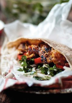 Chicken Shawarma with Onion and Parsley Salad and Lemony Garlic Tahini Dressing