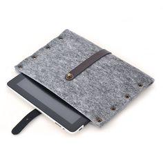 iPad CLASSIC grey felt landscape mode sleeve