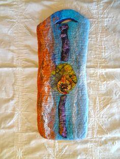 Wet Felt Wine Carrier Tangerine Aqua Glass Spiral Gift. $20.00, via Etsy.