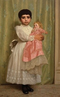 View past auction results for John George Brown on artnet. with a doll