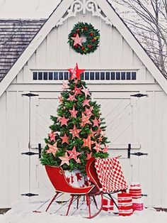 Christmas Tree and red sleigh!! Will be incorporating all of this in the future!!!  (including victorian country french design of the incredible barn!!) 12/24/12