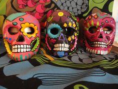 Paper mache Day of the Dead skulls