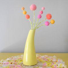 Pastel felt flowers  Wool Craspedia  Pom pom Flower by berryisland