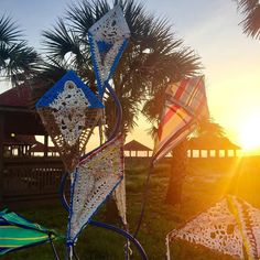 Sunrise behind 'Kite'Seaside Sculpture made from repurposed beach debris. Start of another sunny weekend on Amelia Island.