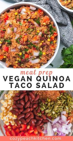 Vegetarian Recipes Discover Vegan Quinoa Taco Salad This vegan quinoa taco salad is versatile and jam packed with nutrients making it the perfect healthy meal prep recipe. Youll love the Mexican inspired flavors in this easy vegan salad! Vegetarian Meal Prep, Healthy Meal Prep, Vegetarian Recipes, Healthy Recipes, Salad Recipes Vegan, Cheap Vegan Recipes, Meal Prep Salads, Recipes With Quinoa, Buddha Bowl Vegetarian