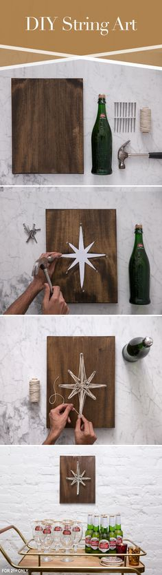 Create interesting designs to show off your DIY skills this holiday season with string art. Nail your design to a rustic piece of wood large enough to contain your design and use nails to create the outline. Then use whatever color or style of rope, twine, or wire to bring that outline to life.