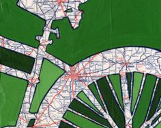 all rights reserved © Leslie DeRose 2010-2013 Title: Bike Dallas Dimensions: 7.25x7.25 image on 8.5x11 paper Medium: Archival print of my original acrylic painting Bike Dallas is a print of an original map painting. A vintage map of Texas is in the background and a bold silhouette of a bike had been painted on top. Signature:Front is signed and titled I print using archival inks and paper. The print is placed in a archival sleeve and shipped through USPS in a sturdy mailer....