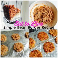Eat to Live: Simple Bean Burgers Burger Recipes, Diet Recipes, Healthy Recipes, Simple Bean Burger Recipe, Eat To Live, Plant Based Eating, Plant Based Recipes, Gluten Free Recipes, Beans