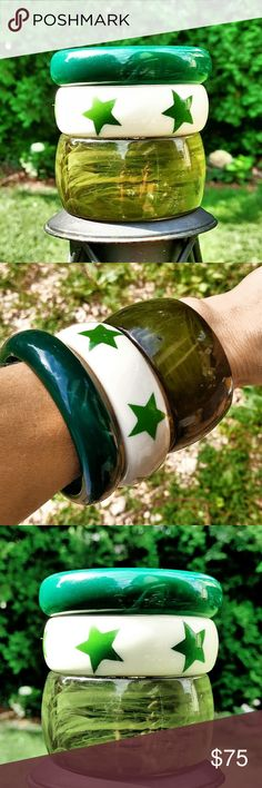 Bundle of 3 Vintage Lucite Bangle Bracelets Fun Bundle of 3 Green Vintage Lucite Bangle Bracelets. One is transparent, one solid, and the third is cream with green stars. All 3 are in excellent condition. Vintage Jewelry Bracelets
