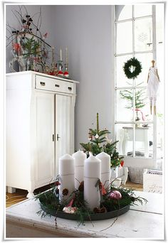 advent christmas decor with a hint of red