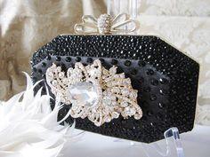 Black Studded Fabric Wedding Bag Clutch by weddingswithflair, $68.00