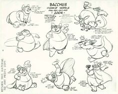 """32. Model sheet of Bacchus from the Pastoral Symphony"""" sequence of Fantasia (1940). Character animated by Ward Kimball."""