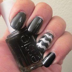 Black and chevron nails