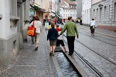The 'bächle'  in Freiburg are a playful as well as historic water element in the city centre.