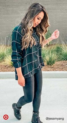 Fall Fashion Outfits, Winter Fashion Outfits, Fall Winter Outfits, Autumn Fashion, Fashion Clothes, Winter Style, Womens Fashion, Plaid Shirt Outfits, Cute Casual Outfits