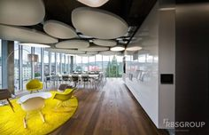 Office Tour: Zühlke Engineering AG – Swiss Offices In the Swiss offices of Zühlke Engineering AG Corporate Interior Design, Corporate Interiors, Restaurant Interior Design, Cafe Interior, Office Interiors, Open Office, Cool Office, Office Ceiling Design, Acoustic Design