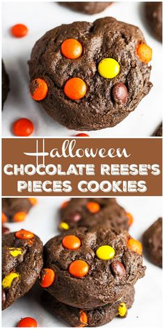 These Halloween Chocolate Cookies are soft, fudgy, and mixed with Reese's Pieces peanut butter candies. They're made with cocoa powder and are gluten free! New Year's Desserts, Christmas Desserts, No Bake Desserts, Delicious Desserts, Dessert Recipes, Party Recipes, Fall Recipes, Holiday Recipes, Halloween Cookie Recipes