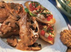 Mushroom Pork Tenderloin and Bruschetta Fresca