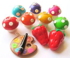 Paint Palette!!! Polymer Clay Charms by MigotoChou.deviantart.com on @deviantART