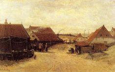Hendrik Willem Mesdag (1831-1915) Het dorp Scheveningen in de buurt van de vuurtoren.