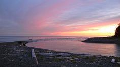Sunset at Beano Creek Camp. Nootka Island Trail, British Columbia, Canada