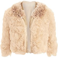 JACKET Givenchy Rosette Jacket  Tulle rosette ruffle open jacket with layered zipper piping and cropped sleeves in Powder