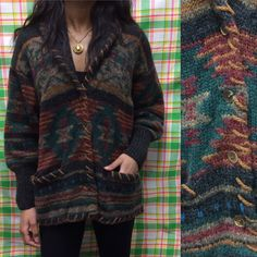 Vintage unieke Tribal Print wollen trui vest / door Woolrich / Medium grote / Oversized blauw + rood /