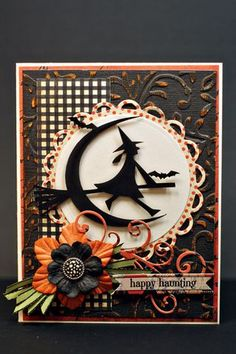 I so love Halloween cards! Don't like 'gore' or 'blood' but love the parties, trick or treat fun, kids in costumes and of course all the darling cards. Halloween Paper Crafts, Manualidades Halloween, Halloween Cards, Holidays Halloween, Happy Halloween, Fall Cards, Holiday Cards, Hallowen Ideas, Rena