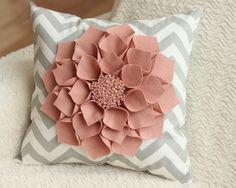 "16x16"" Grey Chevron Throw Pillow with Large Blush Wool Felt Dahlia Flower"