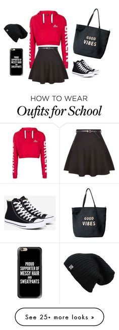 """""""school"""" by isalisa on Polyvore featuring Topshop, New Look, Converse, Venus and Casetify"""
