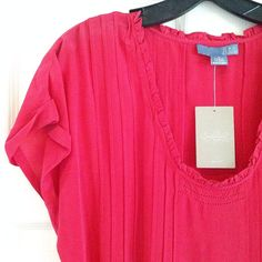 NWT Anthropologie Pleated Silk Top NWT Anthropologie pleated 100% silk blouse in size 4. By Lil. Anthropologie Tops
