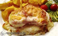 Karajszeletek minden jóval Hungarian Recipes, Bacon, Eggs, Meat, Breakfast, Food, Morning Coffee, Essen, Egg