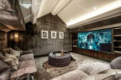 Lowndes Square, Knightsbridge, London - Heimkino/Home-Movietheater - Cinema Movie Theater Rooms, Home Cinema Room, Theatre Rooms, Padded Wall, Home Theater Design, Loft Spaces, Entertainment Room, Luxury Homes, Living Room Decor