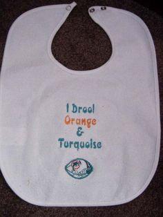 Miami Dolphin Bib Infant Newborn Baby Personalized Embroidered